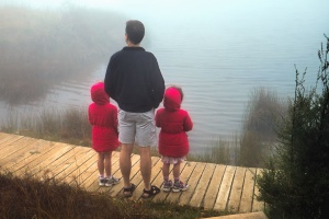 man, child, shore, lake, reflection, fog, tree, plank, path