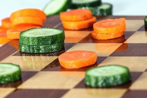 cucumber, carrot, chessboard, game, decoration, wood