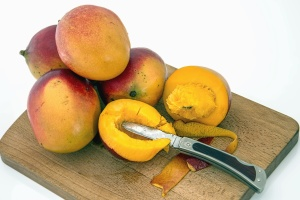 peach, knife, fruit, food, nutrition, vitamin, plant