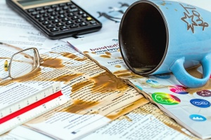 cup, coffee, eyeglasses, calculator, finance, contract
