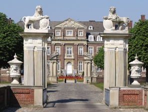 house, architecture, pillar, lion, figure, gate, facade, residence