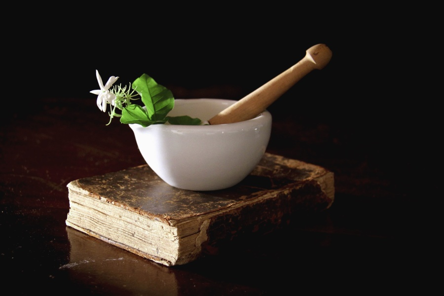 bowl, porcelain, plant, book, prescription, cure, nature