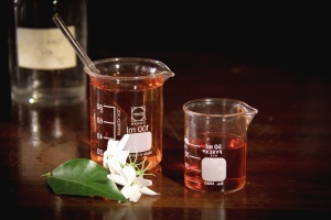 Chimie, produse chimice, sticla, laborator, frunze, flori