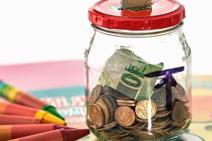 jar, money, metal coin, paper, savings, glass