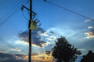 pillar, wire, electricity, transformer, sky, sun