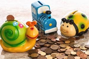 ladybug, snail, train, toy, savings, money, metal