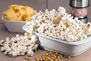 kukurydza, popcorn, miska, ziemniaków, jedzenie, odżywianie