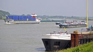 Schiff, Fluss, Transport, Fracht, Küste, Container