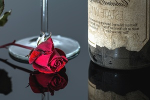 rose, glass, table, reflection, petal, romantic