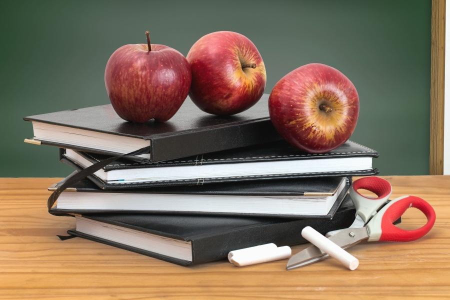 Manzana, planificador, tijeras, tiza, tablero, negocio, fruta, comida