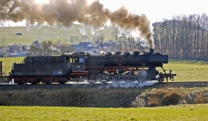steam locomotive, smoke, steam, coal, engine, power, grass, forest, transport