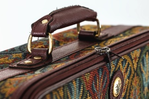 suitcase, canvas, leather, travel, metal
