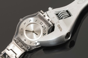 wristwatch, screwdriver, steel, clock, minute, time, chrome