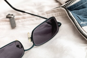 sunglasses, fabric, metal, glass, jacket, fashion