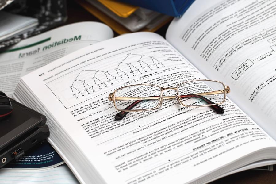 eyeglasses, book, science, study, paper, reading