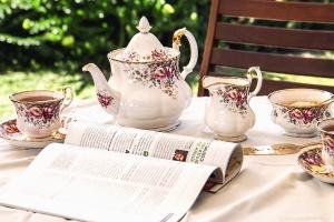 teapot, cup, still life, newspaper, garden, bench, grass