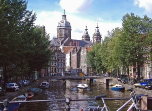 architecture, channel, water, boat, bicycles, construction, wood. dome, landmark