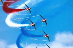 самолет, акробатика, небо, цветов, самолет, дым, производительность