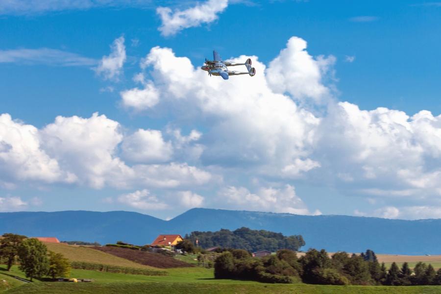 Avion de guerre, militaire, histoire, avion, paysage, forêt, nuage, montagne