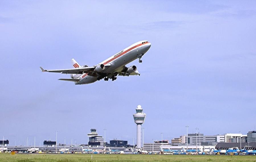 самолет, аэропорт, посадки, башня, путешествия, реактивные