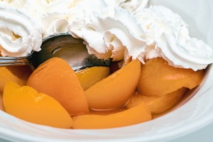 apricot, whipped cream, spoon, food, fruit, sweet, dessert