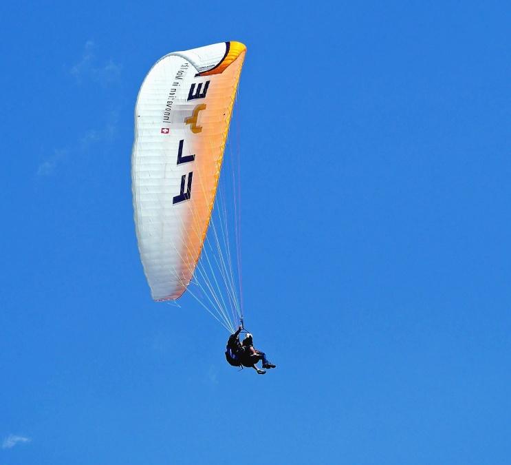 padák, lietadlo, skok, obloha, šport