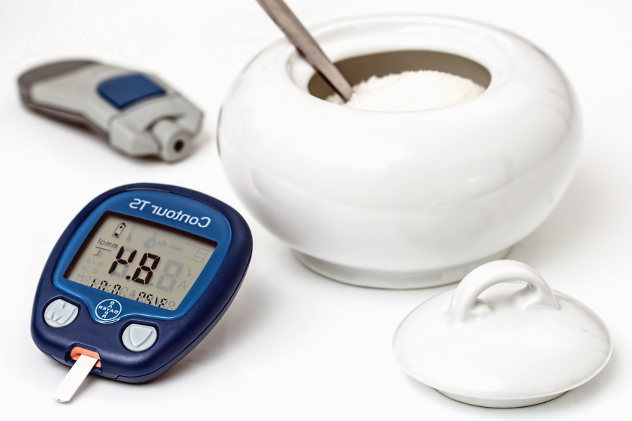 Diabète, glycémie, sucre, appareil, bol