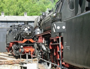 vehicle, steam, locomotive, train, museum, fence, metal