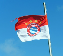 Bandera, lona, viento, cielo, viento