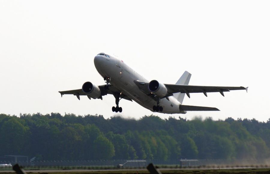 repülőgép, jet, felszállás, utazás, utazó, erdő, ég, repülőtér