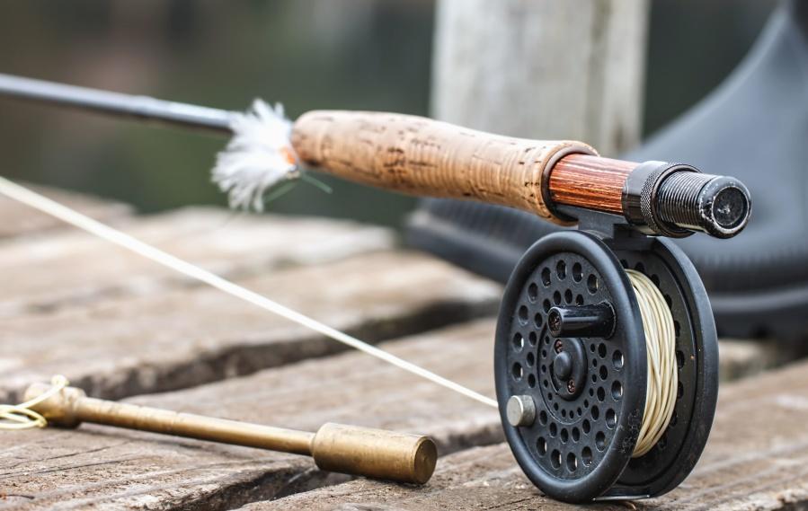 釣り、ロープ、コイル、板、ブート