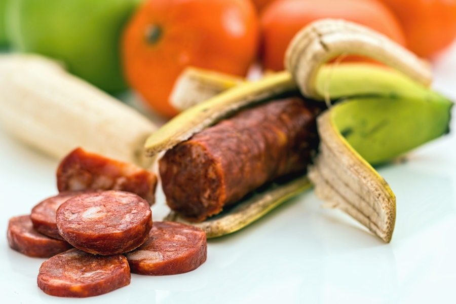 sausage, banana, bark, food, meat, smoked meat, orange
