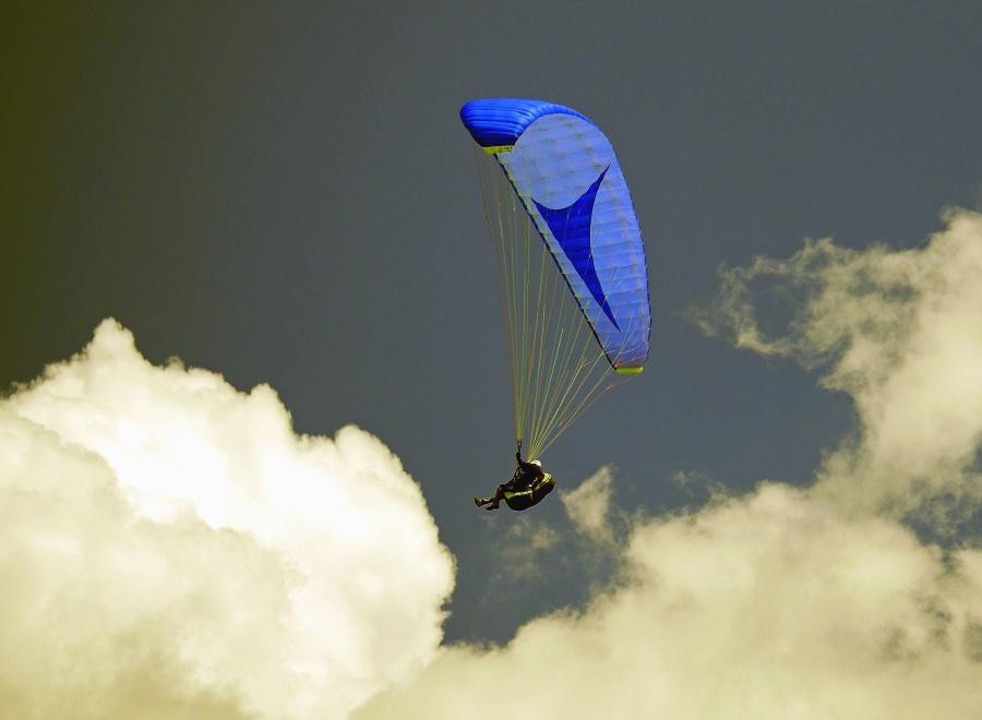 Fallschirm, Himmel, Mann, Flugzeug, Sprung, Wolke, Höhe