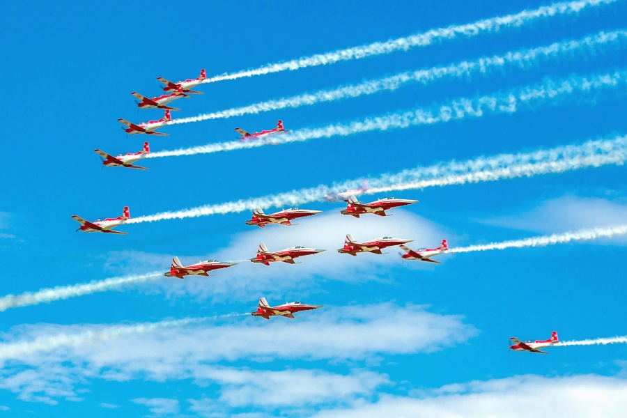 avion, jet, dim, akrobatski, nebo, vozila