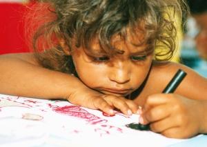 Niña, dibujo, color, papel, niño
