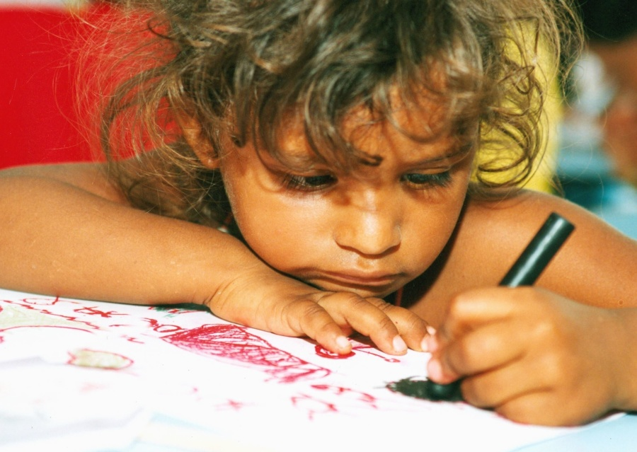 girl, drawing, color, paper, child