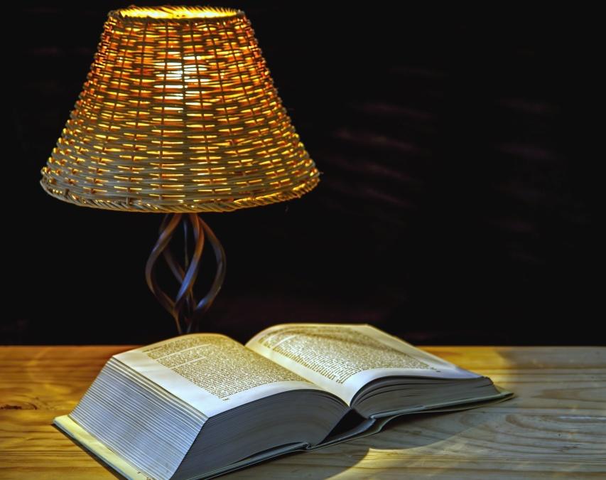 Boek, lamp, tafel, hout, leren, stilleven, wetenschap
