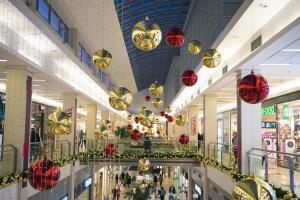 Noël, décoration, magasin, centre commercial, personnes, vacances