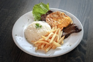 meat, salad, rice, french fries, lunch, plate, table, restaurant