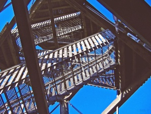 stairs, metal, construction, architecture, steel, grid, sky