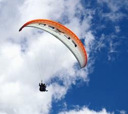 небе, облака, парашут, самолет, скок, адреналин
