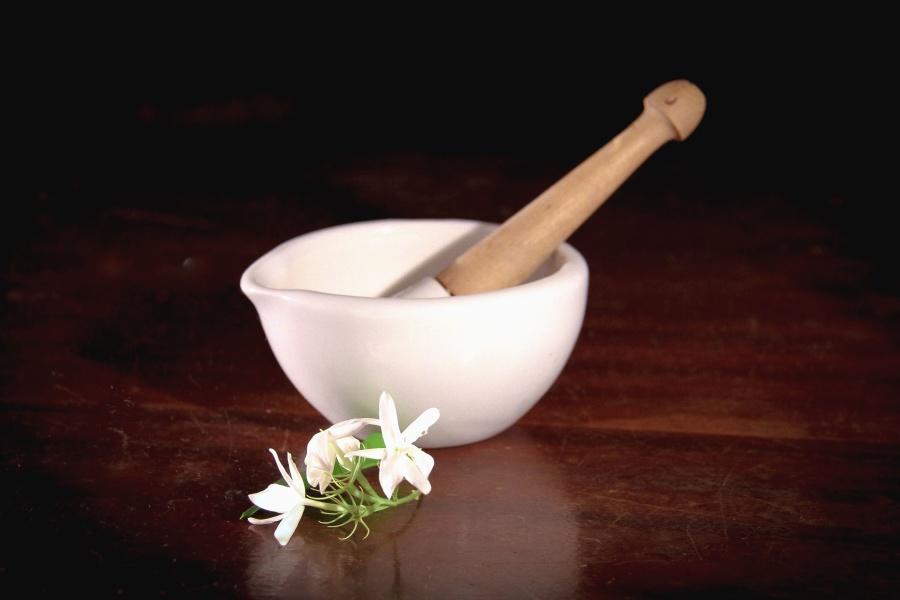 Bol, fleur, feuille, table, texture, laboratoire