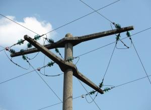 concrete, pillar, wire, electricity, transport, sky, cloud
