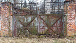 gate, rust, brick, wall, metal, fence, architecture