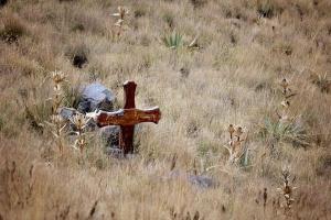grave, cross, stone, hill, grass
