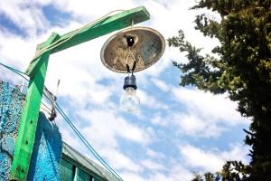 light bulb, street lamp, wood, sky, cloud