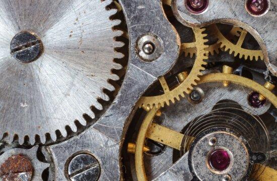 Mécanisme, métal, engrenages, acier, fer
