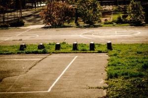 Spielplatz, säule, beton, gras, sport