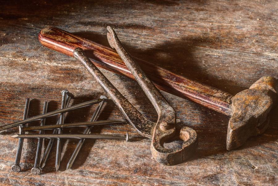 čekić, stol, kliješta, šiljak, metalni, tekstura