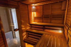sauna, room, wood, plank, light, bench